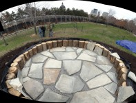 laying of the Foraging Circle slate pavers