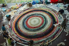 first day of rug crochet at the Walker