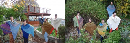 August, Wyatt, Brandon, Dan and Noah experimenting with the new knits in the garden