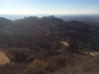 Griffith Park with downtown LA in the hazy distance